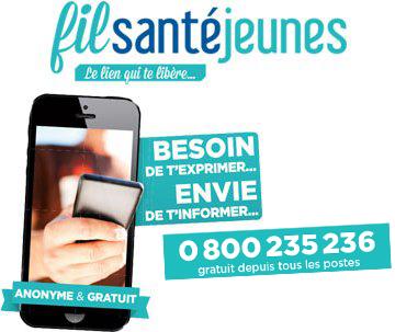 Fil Santé Jeunes. Besoin de t'exprimer, envie de t'informer. 0 800 235 238, 01 44 93 30 74. Anonyme et gratuit.